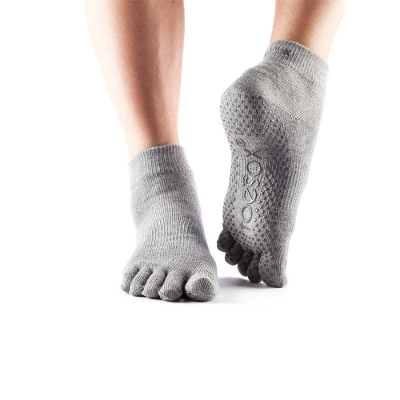 <ToeSox> Grip Full Toe Ankle Heather Grey Small
